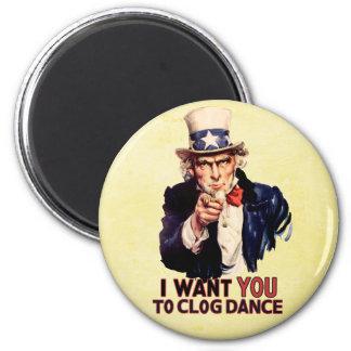 Uncle Sam Clogging Dance 2 Inch Round Magnet