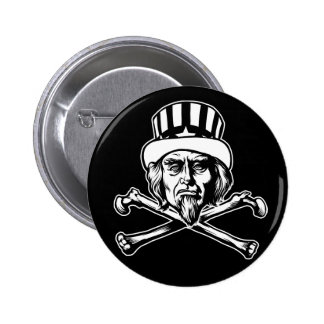 Uncle Sam & Crossbones Button Pin