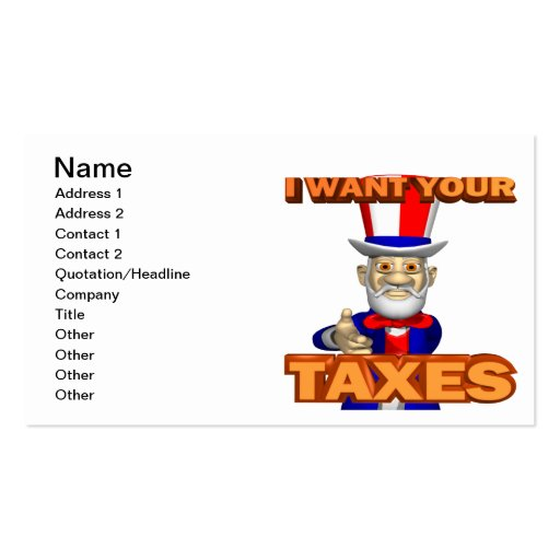 Uncle Sam Double-Sided Standard Business Cards (Pack Of 100)