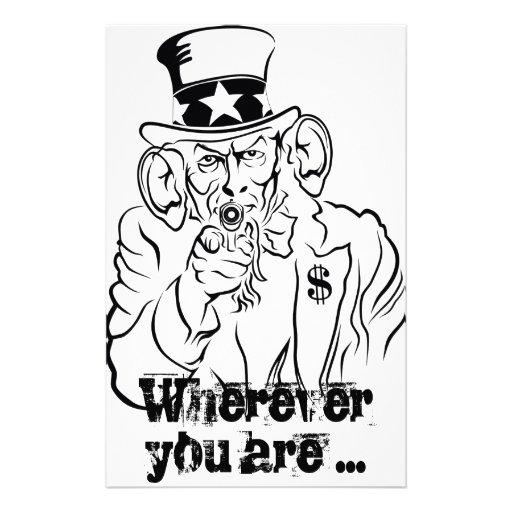 Uncle Sam escucha Papelería De Diseño