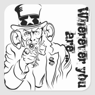Uncle Sam escucha Pegatina Cuadrada