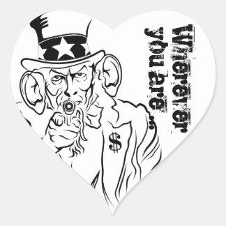 Uncle Sam escucha Pegatina En Forma De Corazón