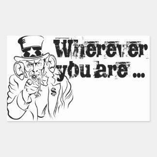 Uncle Sam escucha Pegatina Rectangular