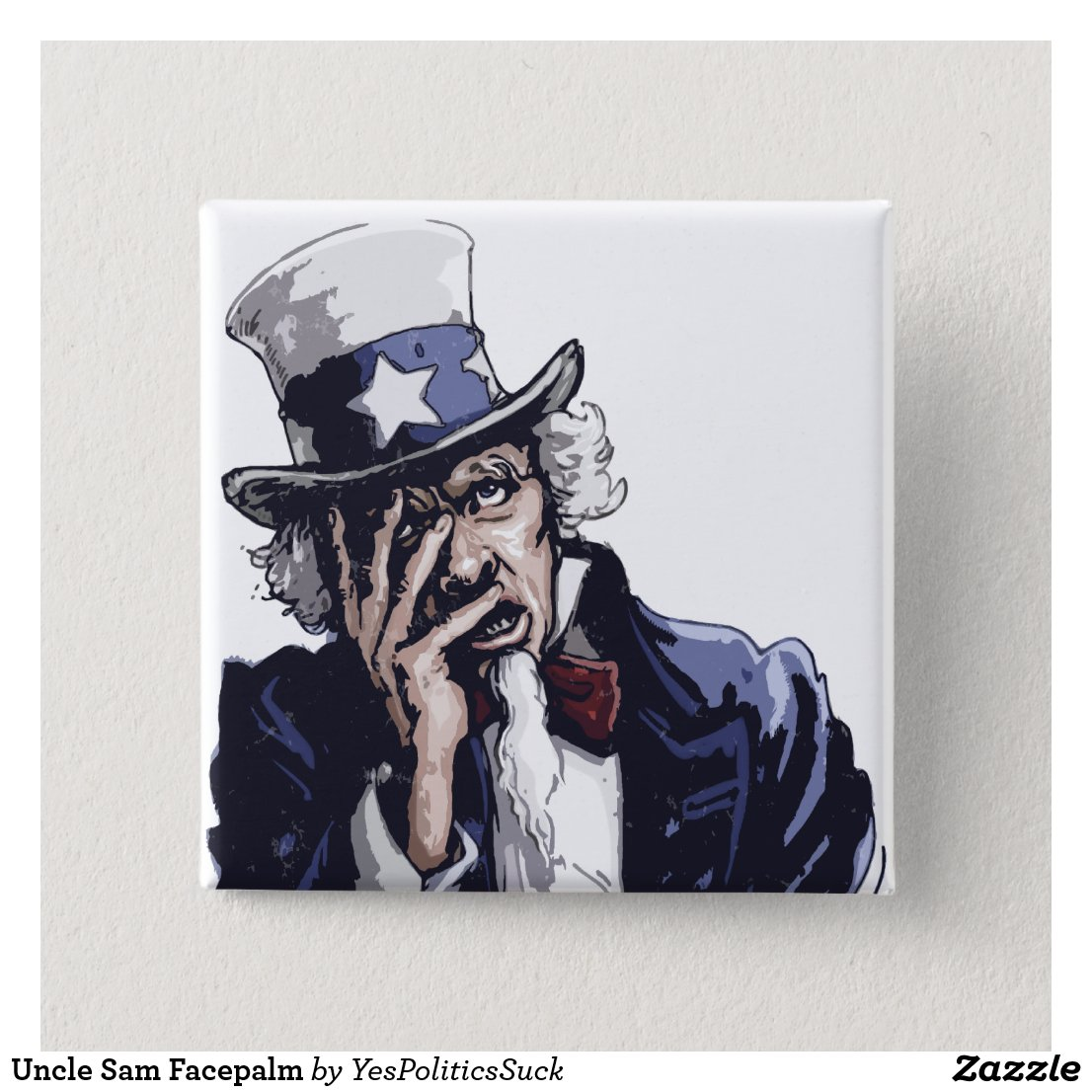 Uncle Sam Facepalm Pinback Button
