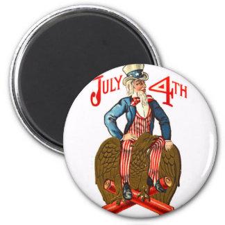 Uncle Sam Firecrackers July 4th Patriotic Vintage Magnet