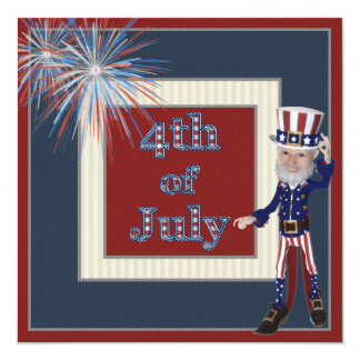 Uncle Sam & Fireworks 4th of July Party Invites