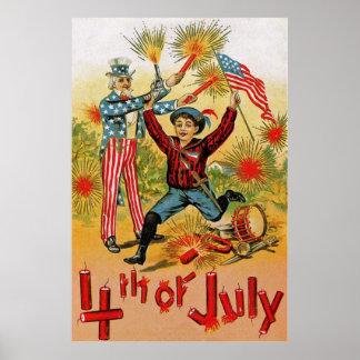 Uncle Sam Fireworks Child Vintage 4th of July Poster