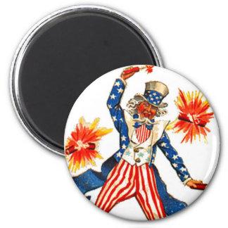 Uncle Sam Fireworks Vintage July 4th Patriotic 2 Inch Round Magnet