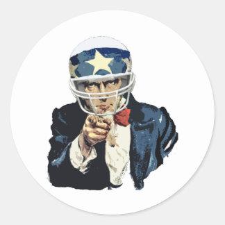 uncle sam football classic round sticker