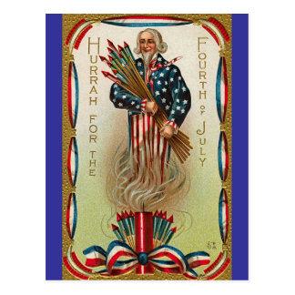 Uncle Sam Forth of July Postcard