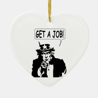 Uncle Sam Get A Job Double-Sided Heart Ceramic Christmas Ornament