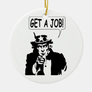 Uncle Sam Get A Job Large Version Double-Sided Ceramic Round Christmas Ornament