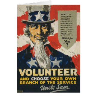 Uncle Sam Greeting Card with Motive from WWII