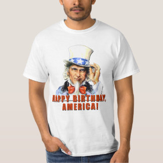 Uncle Sam Happy Birthday America Tshirt