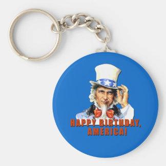 Uncle Sam Happy Birthday America Tshirt Basic Round Button Keychain
