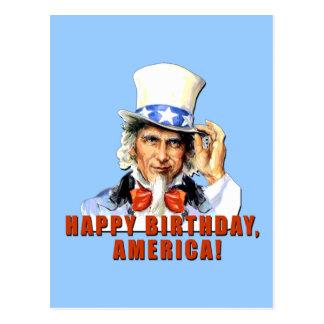 Uncle Sam Happy Birthday America Tshirt Postcard