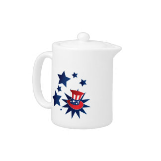 Uncle Sam hat and stars Teapot