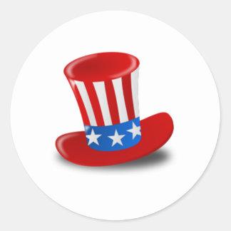 Uncle Sam Hat Round Sticker