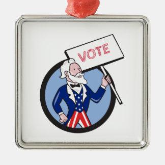 Uncle Sam Holding Placard Vote Circle Cartoon Metal Ornament
