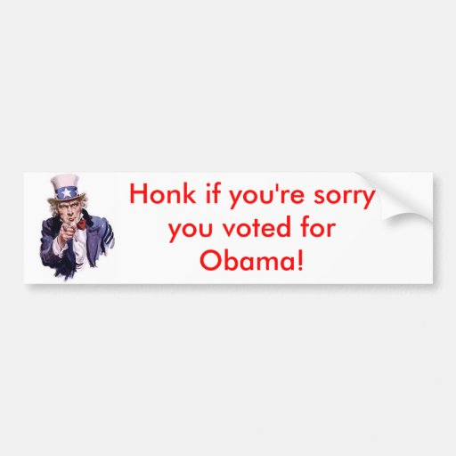 uncle-sam, Honk if you're sorry you voted for O... Car Bumper Sticker