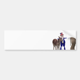 Uncle Sam Hugs Happy Donkey Bumper Sticker