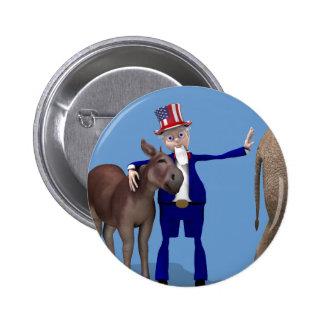 Uncle Sam Hugs Happy Donkey Button
