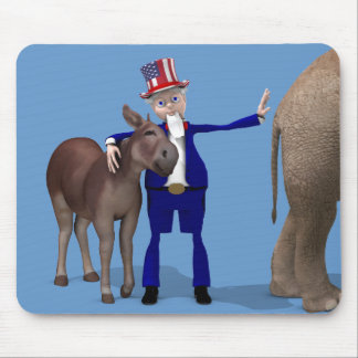 Uncle Sam Hugs Happy Donkey Mouse Pad