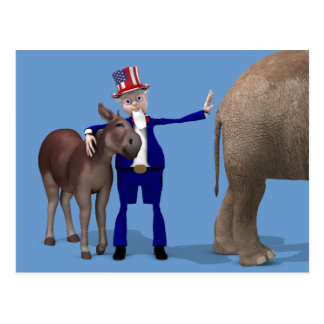 Uncle Sam Hugs Happy Donkey Postcard