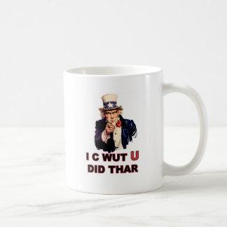 Uncle Sam: I C Wut U Did Thar Classic White Coffee Mug