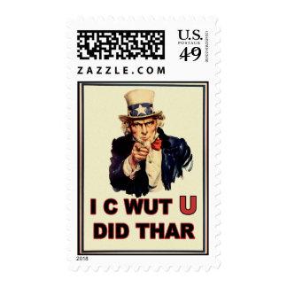 Uncle Sam: I C Wut U Did Thar Stamp