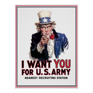 "Uncle Sam ""I Want You"" -- Border Poster"