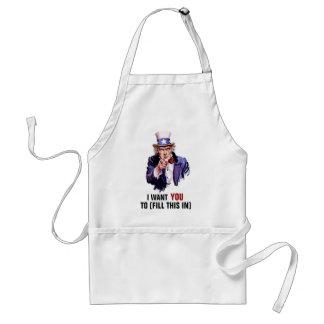 "Uncle Sam ""I Want You"" Customizable Adult Apron"