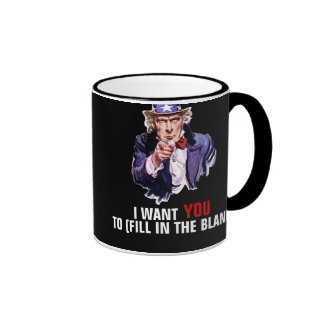 """Uncle Sam """"I Want You"""" Customizable Ringer Coffee Mug"""