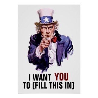 "Uncle Sam ""I Want You"" Customizable Poster"