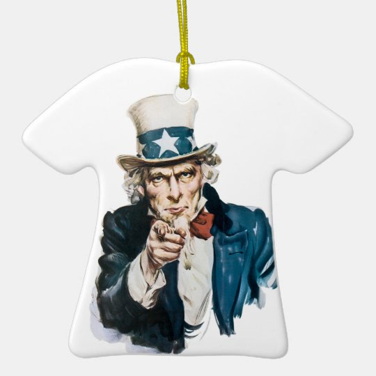 Uncle Sam I Want You Customize With Your Text Ceramic Ornament