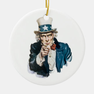 Uncle Sam I Want You Customize With Your Text Ornaments
