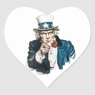 Uncle Sam I Want You Customize With Your Text Heart Sticker