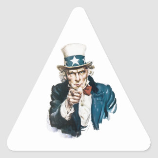 Uncle Sam I Want You Customize With Your Text Triangle Sticker
