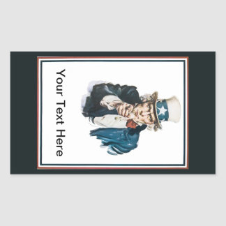 Uncle Sam I Want You Customize Your Text Here Rectangular Sticker