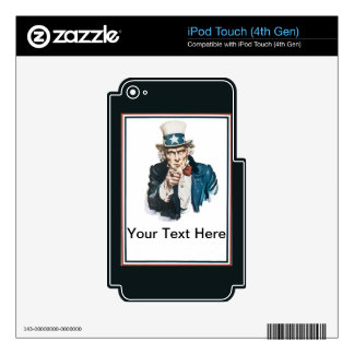 Uncle Sam I Want You! Customize Your Text Here Skins For iPod Touch 4G