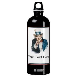 Uncle Sam I Want You Customize Your Text Here Water Bottle