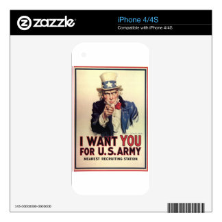 Uncle Sam - I Want You Decal For The iPhone 4S