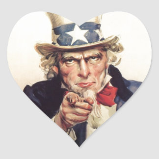 Uncle Sam - I Want You Heart Sticker