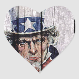 """Uncle Sam """"I Want you"""" Heart Sticker"""