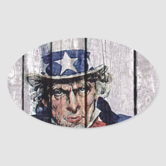 "Uncle Sam ""I Want you"" Oval Sticker"