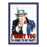 "Uncle Sam - I WANT YOU - Party Invitation 5"" X 7"" Invitation Card"