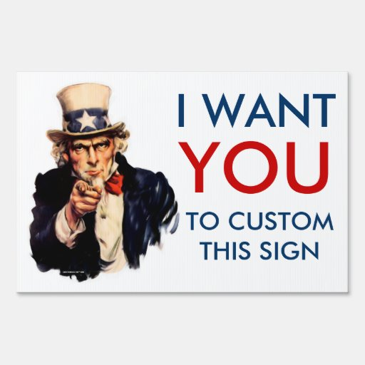 """Uncle Sam """"I Want You"""" Personalized Yard Signs"""