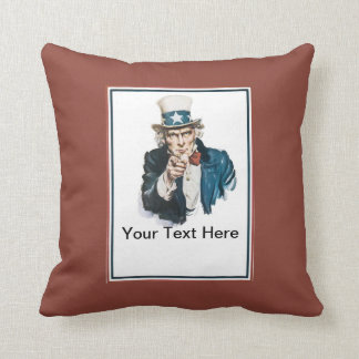 Uncle Sam I Want You Red Your Text Here! Custom Throw Pillow
