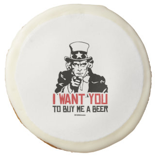 Uncle Sam - I want you to buy me a beer Sugar Cookie