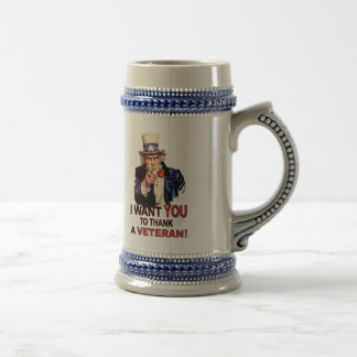 Uncle Sam I Want You To Thank A Veteran Beer Stein 18 Oz Beer Stein
